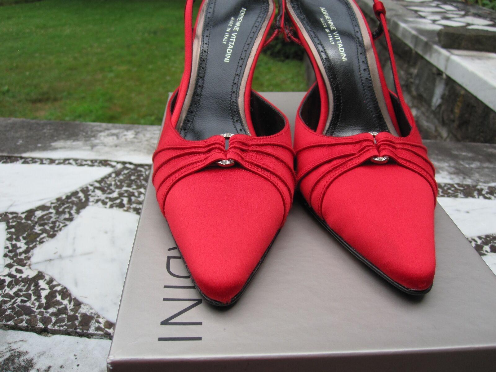 NIB  Adrienne Vittadini Gorgeous Red Silk Sling Back Pumps  Pleating- 7.5 M