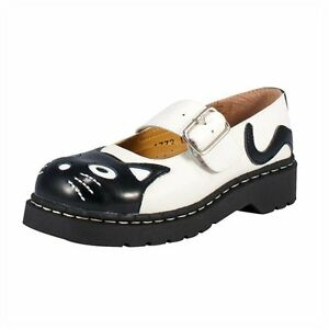 T-U-K-Kitty-Cat-Face-White-Black-Anarchic-Brogue-Leather-Mary-Jane-Strap-Shoes