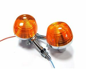 2x Front Turn Signal Lights for Honda Super Sport CB175 K CB350 K CB450 K w/stay