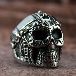 Men S Vintage Knight Skull Helmet Biker Ring Warrior