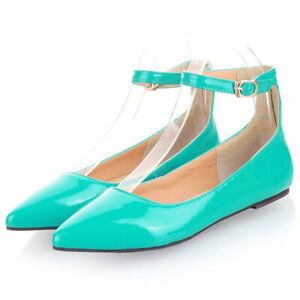 Women Ladies Lolita Pumps Ankle Strap Pointed Toe Flat Heel Comfort Ballet Shoes