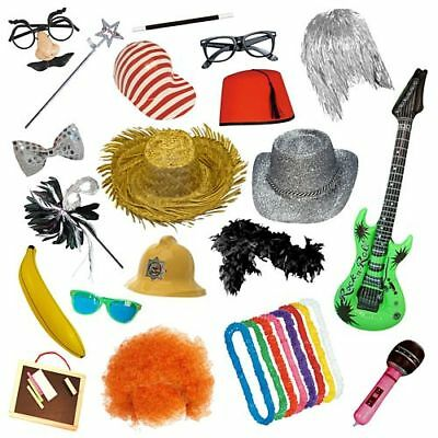 MINI PHOTO BOOTH PACK Selfie Party Fancy Dress Props Wigs Hats Glasses Masks