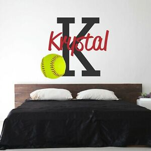 CUSTOM-NAME-VINYL-DECAL-WITH-REALISTIC-SOFTBALL-WALL-STICKER