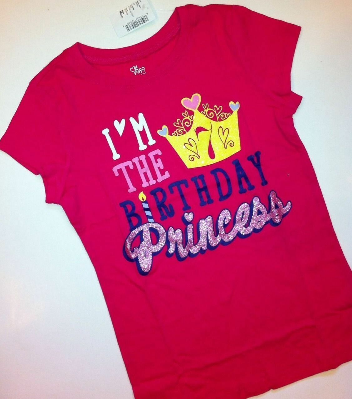 7th Birthday 7 Years Girls Graphic Shirt 8 Medium Gift Pink Princess SS For Sale Online