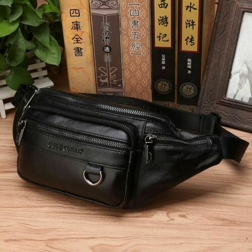 Men Genuine Leather Waist Chest Bags Pouch Single Shoulder Cross Body Bags High
