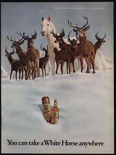 1972 WHITE HORSE & Christmas Reindeer - Whisky - Santa Claus - Snow - VINTAGE AD