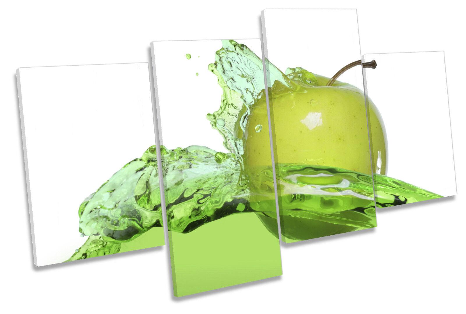 Apple Splash Kitchen MULTI CANVAS WALL ART Picture Print
