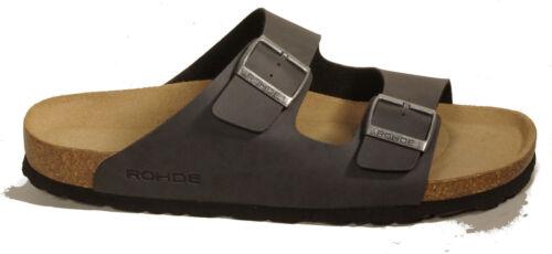 Rohde Chaussures Mules Noir Antrazit Boucles Semelle Intérieure Cuir Chaussons Neuf