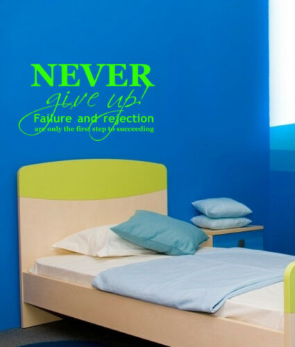 SPORT COOL WALL QUOTE VINYL ART STICKER STENCIL GRAPHIC ROOM BEDROOM NEVER ..