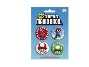 Blister-de-4-Badges-Nintendo-Super-Mario-Officiels-Super-mario-bros-badge-pack