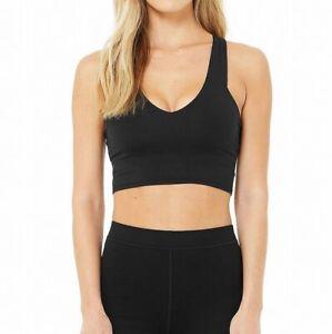 Alo Women's Sports Bra Deep Black Size XS V-Neck Yoga Stretch Solid $79 #244