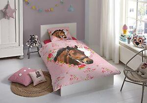 Bettwäsche 135x200 Pferd Rosa Mit Herz Mädchen Kinderbettwäsche