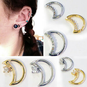 1-4pc Acier 18 G Nez Helix Cartilage Tragus Piercing Oreille Zircone Cubique Crescent Moon Hoops-afficher Le Titre D'origine