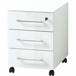 Buro Rollcontainer In Weiss M Glasfront Auflage Container