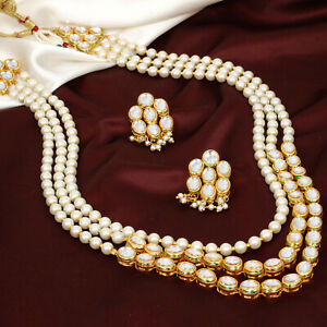 Indian-Fashion-Gold-Plated-Long-Kundan-Pearl-Necklace-Earring-Women-Jewelry-Set