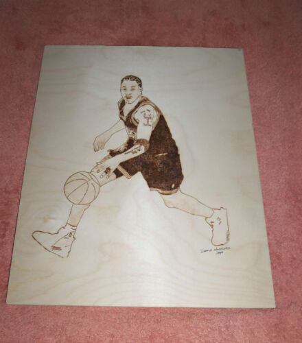NBA Allen Iverson 76ers Hand Made Burnt Wood Picture AMAZING ONE OF A KIND