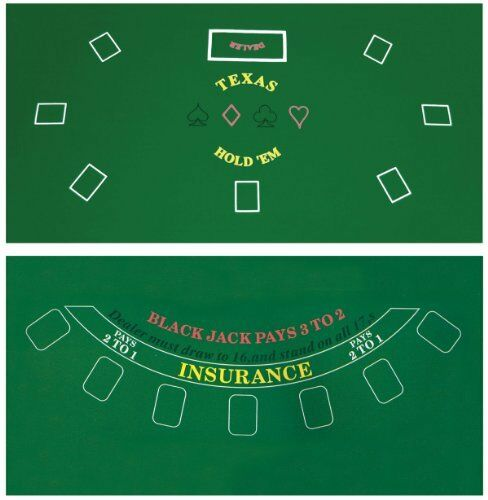 Merveilleux Poker Table Top Green Mat Pad Blackjack Texas Cover Holdem 2 Side Compact |  EBay