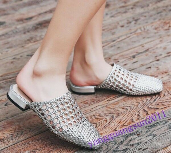 Womnens Ladies Sandals Mules Flats Hollow Cut Low Heels Casual Woven Slippers  s