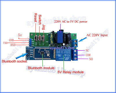 220V Bluetooth Switch Relay Module Android Mobile Remote Control Smart Home LED