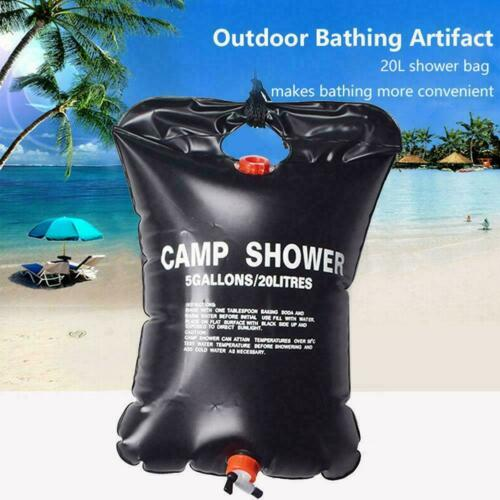 Solar Shower Bag 20l Camping Sun Energy Heated Bathing Hiking Outdoor Bag H6P9