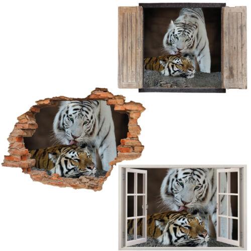 Ventana Pared Adhesivo Calcomanía Vinilo 3D Tigres Gato León Decoración Hogar Arte Habitación salvaje