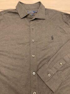 Men-039-s-RALPH-LAUREN-POLO-Gray-100-Cotton-Knit-Collared-Button-Down-Shirt-XL