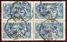 RARE 1915 De La Rue 10/- blue very fine used block x4 - London rubber ds. SG 412