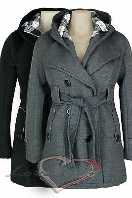 New Ladies Hooded Belt Warm Winter Fleece Jacket Coat Charcoal Black 8 10 12 14