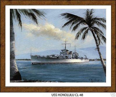 US Naval Battleship Photo Print USS HONOLULU CL 48 USN Navy