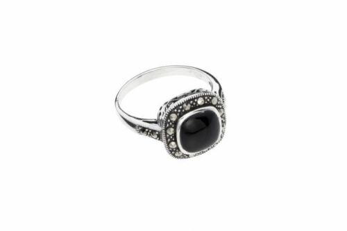 Sterling Silver Ladies Marcasite /& Onyx Ring