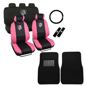 Image Is Loading New Pink Bow Lady Skull Car Seat Covers