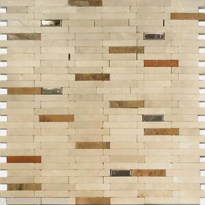 Gray Natural Stone Stainless Steel Insert Mosaic Tile Kitchen Backsplash