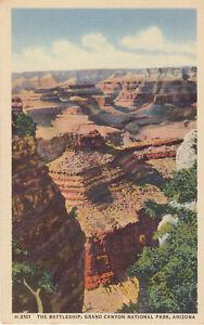 Linen-Postcard-A707-Battleship-Grand-Canyon-National-Park-Arizona-Fred-Harvey