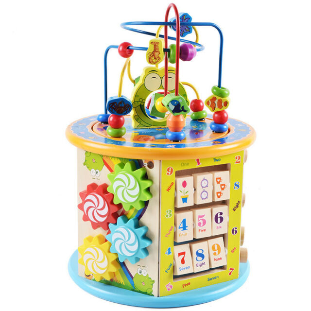 8 In 1 Wooden Activity Cube Toy Baby Bead Maze Early Educational Learning Puzzle