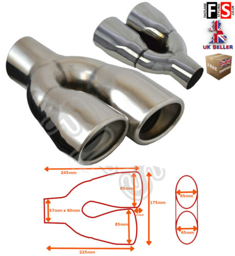 """UNIVERSAL STAINLESS STEEL EXHAUST TAILPIPE 2.25/"""" INLET TWIN PAIR-Audi 2"""