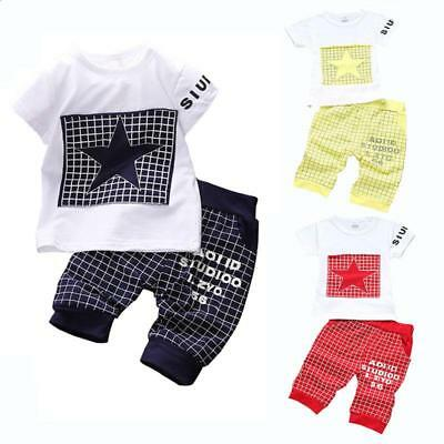 Baby Boy Star Printed Clothing Set Summer Tops Pants Suit Outfit Tiny Cotton New