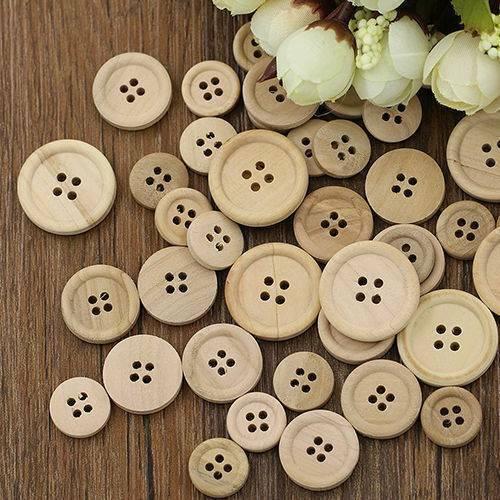 50x Wooden Love Heart Handmade 24 Holes Wooden Buttons Sewing Scrapbooking