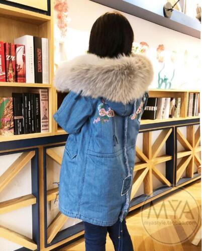 Punk col mode la à Hiver Parka pour fourrure Manteau capuchon à Veste femmes Manteaux en à Denim qUw8aSgan