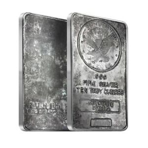 10 oz Sunshine Mint Silver Vintage Bar .999 Fine