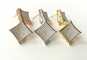 Hip Hop Style 925 Sterling Silver Men//Woman  Earrings Micro-Pave CZ setting