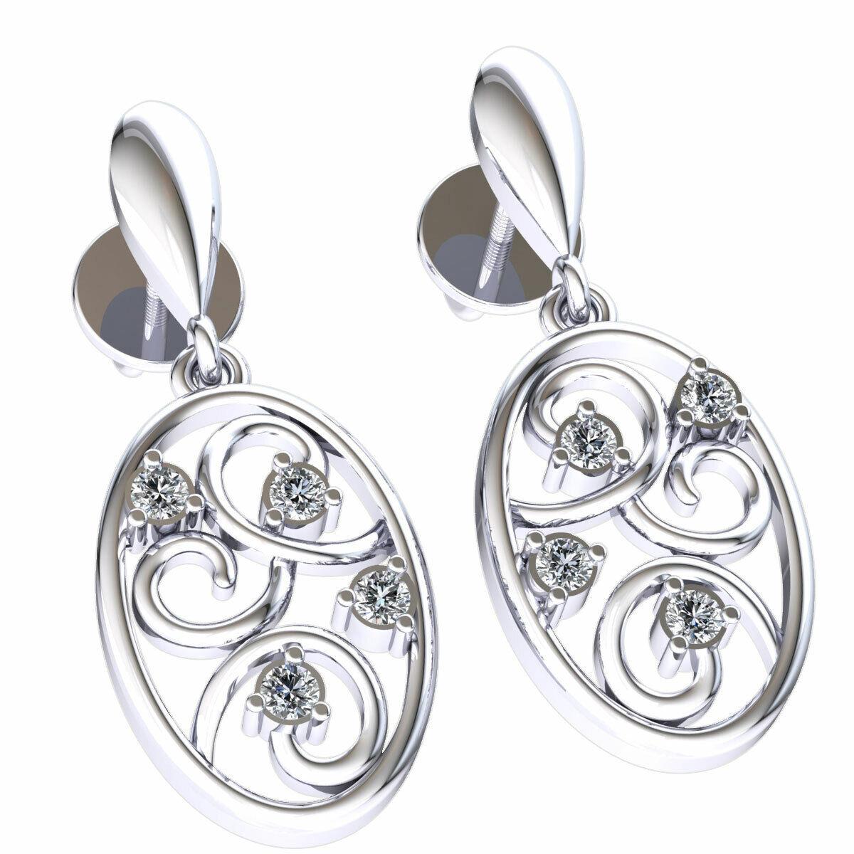 0.1ctw Genuine Round Cut Diamond Ladies Oval Drop Earrings Solid 14K gold