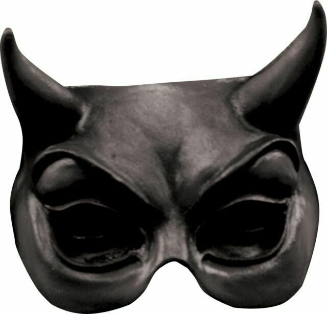 BLACK DEVIL DEMON GOTHIC EVIL HALF LATEX MASK COSTUME TB25002