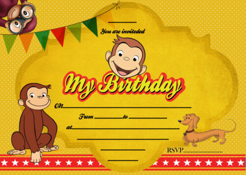 Birthday card Courious George Theme Birthday Party Invitations X 8 CARDS