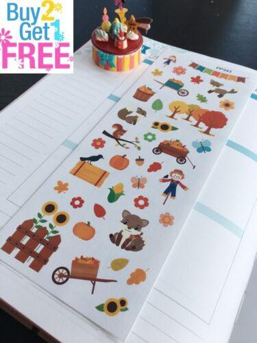 Fall Autumn :Planner Stickers Erin Condren Fox Trees S343- Pumpkin Picking