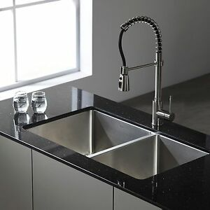Kraus  Inch Undermount Double Bowl Stainless Steel Kitchen Sink