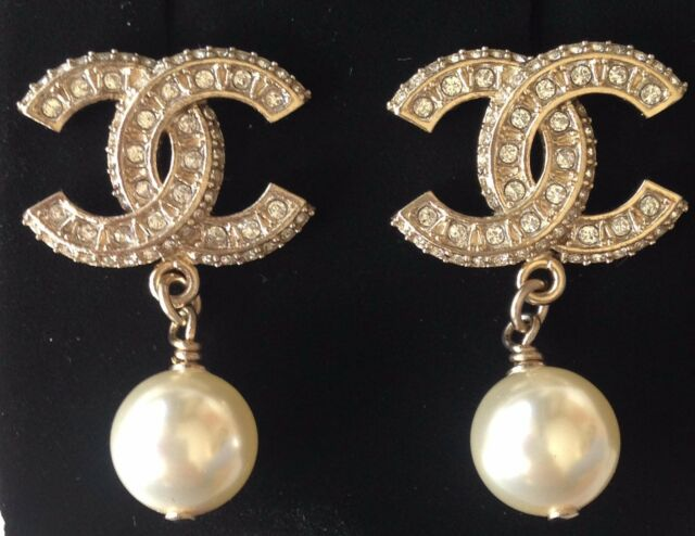 Chanel Top Gold Cc Crystal Pearl Dangle Dress Earrings New Gorgeous