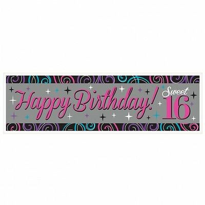 SWEET 16 HAPPY BIRHDAY GIANT BANNER PINK GIRLS 16TH BIRTHDAY PARTY