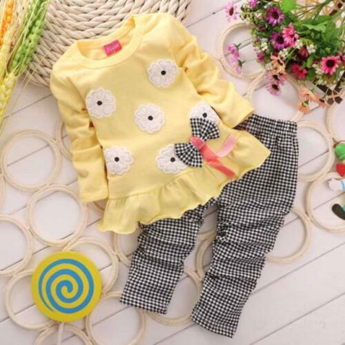 Toddler Kids Baby Girls Long Sleeve T-Shirt Tops Plaid Pants Trousers Outfits