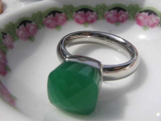 QUDO Ring Firenze * Edelstahl * Green Opal Meergrün * DER TREND !!