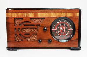 Old Antique Wood Trav-ler Vintage Tube Radio - Restored & Working Deco Table Top